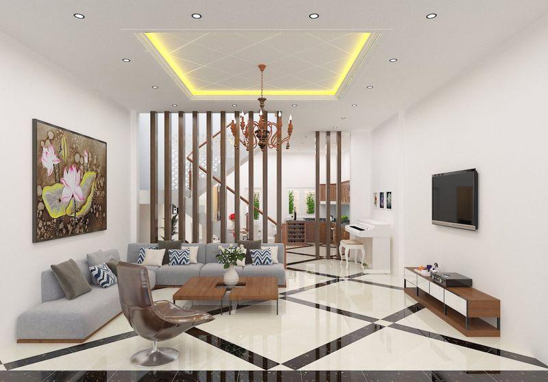 Không gian nội thất phòng khách nhà ống