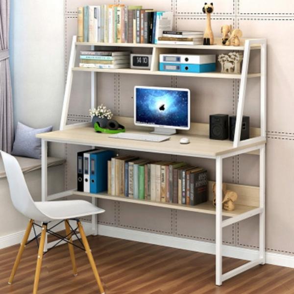 Bàn làm việc kết hợp tủ sách kiểu dáng đơn giản