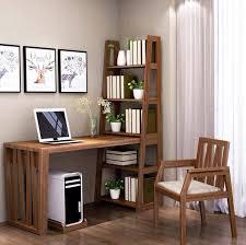 Bàn làm việc kết hợp với tủ sách bằng gỗ tự nhiên