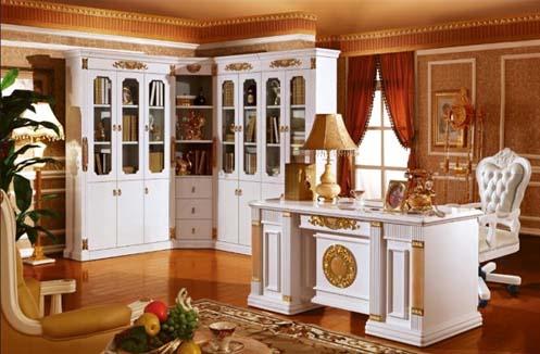 Mẫu bàn làm việc cổ điển tone màu trắng tinh tế