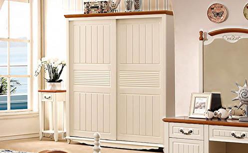 Tủ quần áo gỗ công nghiệp màu trắng kem